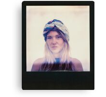 Polaroid of Blond Female Hippie Looking Into Camera Canvas Print