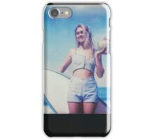 Polaroid of Blond Female Surfer Girl Holding Surfboard and Coconut iPhone Case/Skin