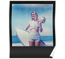 Polaroid of Blond Female Surfer Girl Holding Surfboard and Coconut Poster