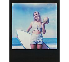 Polaroid of Blond Female Surfer Girl Holding Surfboard and Coconut Photographic Print