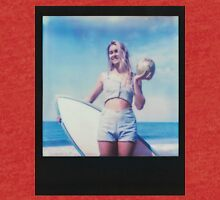 Polaroid of Blond Female Surfer Girl Holding Surfboard and Coconut Tri-blend T-Shirt