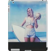 Polaroid of Blond Female Surfer Girl Holding Surfboard and Coconut iPad Case/Skin