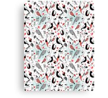 Graphic pattern in love birds  Canvas Print