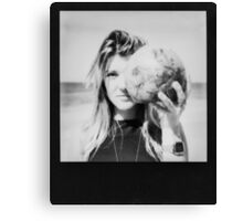 Black and White Polaroid of Young Woman Holding Coconut in Front of Face Canvas Print