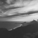 Rio de Janeiro's Copacabana Beach With Dramatic Sky in Black and White by visualspectrum
