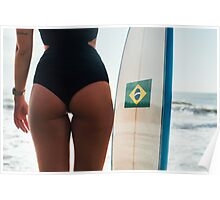 Bum of Hot Female Surfer Girl Posing With Surfboard on Ipanema Beach in Rio de Janeiro Poster