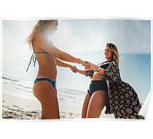 Two Young Pretty Girls Having Fun Together on Sunny Beach Poster