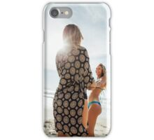 Two Young Pretty Blond Girls Holding Hands and Laughing Together on Sunny Beach iPhone Case/Skin