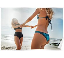 Two Young Pretty Blond Girls Having Fun Together on Sunny Beach Poster