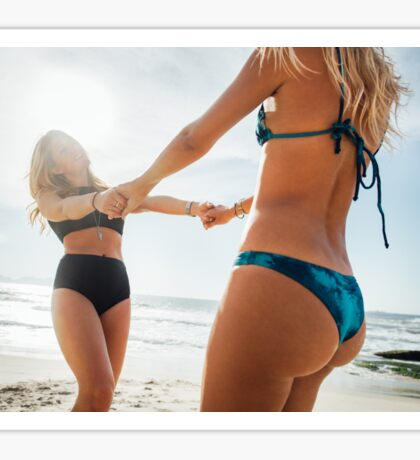 Two Young Pretty Blond Girls Having Fun Together on Sunny Beach Sticker