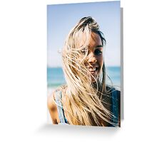 Young Pretty Blond Girl - Beach Portrait on Windy Morning Greeting Card