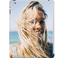 Young Pretty Blond Girl - Beach Portrait on Windy Morning iPad Case/Skin