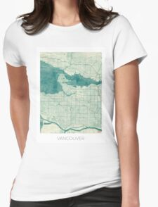 Vancouver Map Blue Vintage Womens Fitted T-Shirt