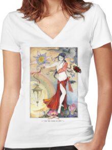 White Tara Tibetan Goddess Women's Fitted V-Neck T-Shirt