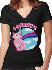 Bi Purrride Women's Fitted V-Neck T-Shirt