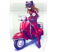 Evangelion Biker Lady Cat Ears Poster