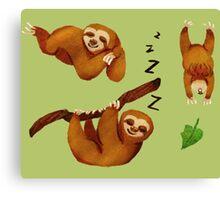 Sleepy Silly Sloths Canvas Print
