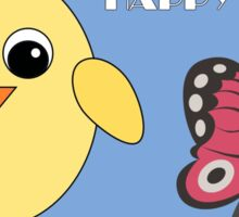 Easter Chick and Butterfly Sticker