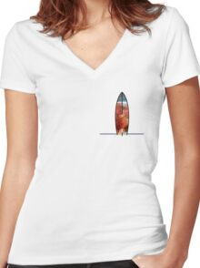 Simple Space Surf Women's Fitted V-Neck T-Shirt