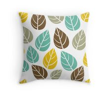 Stylized Colorful Pastel Tones Fall Leafs Pattern Throw Pillow