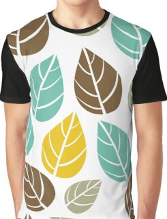 Stylized Colorful Pastel Tones Fall Leafs Pattern Graphic T-Shirt