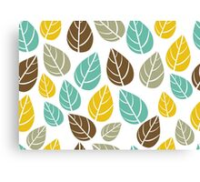 Stylized Colorful Pastel Tones Fall Leafs Pattern Canvas Print