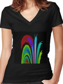 Solar Flames Women's Fitted V-Neck T-Shirt