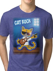 Cat Rock Guitar Tri-blend T-Shirt