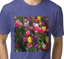 Tulips in assorted colours with green leaves. Tri-blend T-Shirt