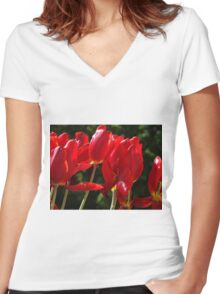 Sunny Tulips Women's Fitted V-Neck T-Shirt