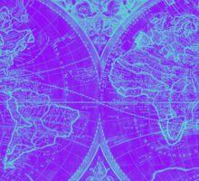 World Map (1691) Purple & Blue Sticker