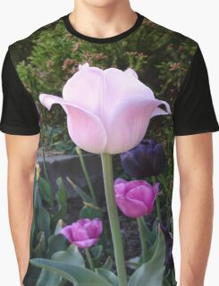 pink tulip flower with greenery. Graphic T-Shirt
