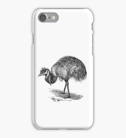 Vintage Emu Birds Illustration Retro 1800s Black and White Emus Bird Image iPhone Case/Skin