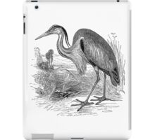 Vintage Great Heron Birds Illustration Retro 1800s Black and White Herons Bird Image iPad Case/Skin