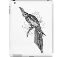 Vintage Parrot Illustration Retro 1800s Black and White Image iPad Case/Skin