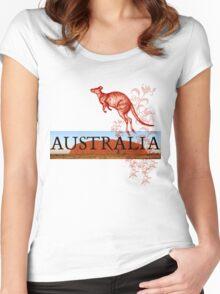 Australia Ayers Rock & Kangaroo Women's Fitted Scoop T-Shirt