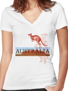 Australia Ayers Rock & Kangaroo Women's Fitted V-Neck T-Shirt