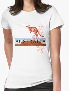Australia Ayers Rock & Kangaroo Womens Fitted T-Shirt