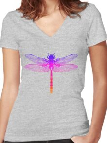 Psychedelic Colorful Dragonfly Women's Fitted V-Neck T-Shirt