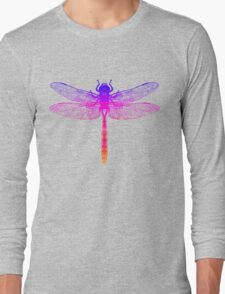 Psychedelic Colorful Dragonfly Long Sleeve T-Shirt