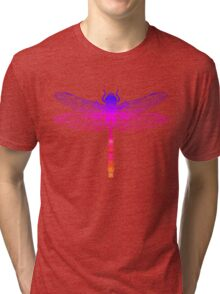 Psychedelic Colorful Dragonfly Tri-blend T-Shirt