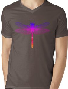 Psychedelic Colorful Dragonfly Mens V-Neck T-Shirt