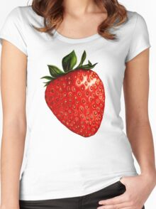 Strawberry Pattern Women's Fitted Scoop T-Shirt