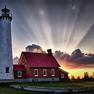Tawas Point Lighthouse Sunset - Michigaan by Kathy Weaver