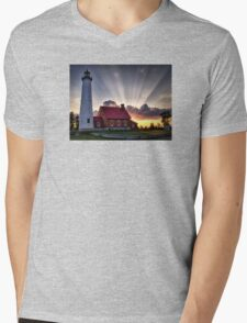 Tawas Point Lighthouse Sunset - Michigaan Mens V-Neck T-Shirt