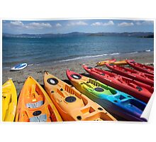 Multi colored kayaks. Poster