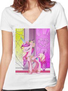 Cadance Oil Paint Women's Fitted V-Neck T-Shirt