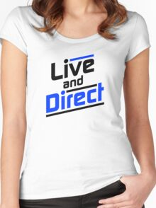 Live and Direct - Black Blue Women's Fitted Scoop T-Shirt