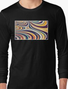 Color and Form Abstract - Curved Rounded Lines Flowing  Long Sleeve T-Shirt