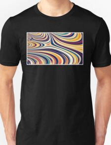 Color and Form Abstract - Curved Rounded Lines Flowing  Unisex T-Shirt